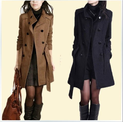 женское пальто Осень/Зима 2013, смонтированные в корейской версии новые женские длинные шерстяные жира мм тонкий шерстяной ткани Пальто Плюс Размер Пальто