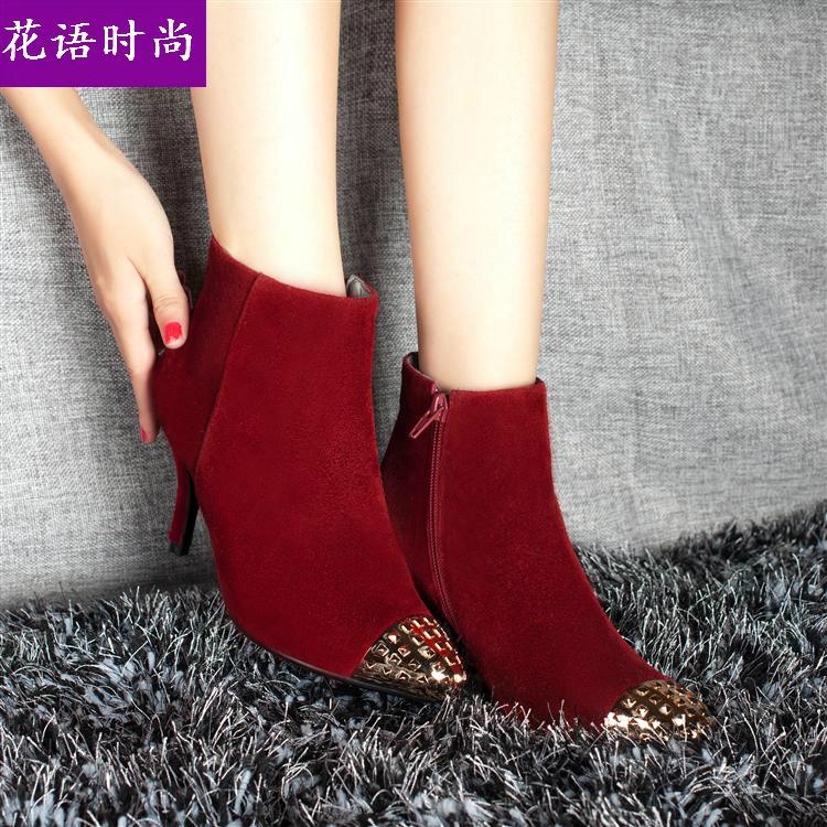 2013新款欧美大牌正品短靴名媛淑女鞋婚鞋金属尖头细跟中跟马丁靴
