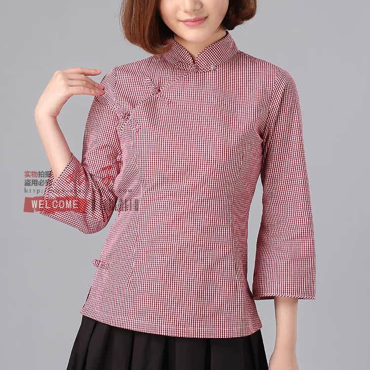 Блузка в китайском национальном стиле Леди нефрит «красных» мая четвертый студент единообразного платье китайский ручной кабина в трауре одежду с длинными рукавами рубашки