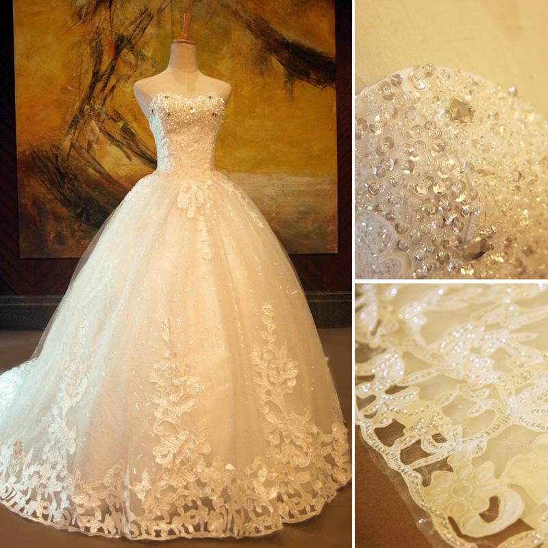 新款韩版豪华抹胸显瘦大拖尾公主蓬蓬裙婚纱  绑带婚纱礼服