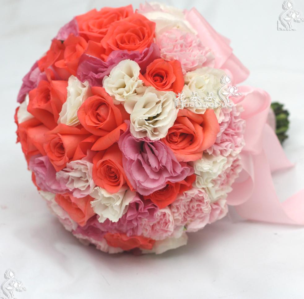 北京花朵朵花艺|婚礼花艺布场|亮粉色系新娘手捧花/私属定制花艺