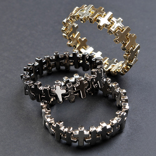 批发 欧美外贸饰品 十字架弹性手镯 手链 官网同款在售