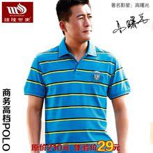【折800独家优惠】中青年男士t恤条纹翻领宽松短袖夏季新款POLO衫