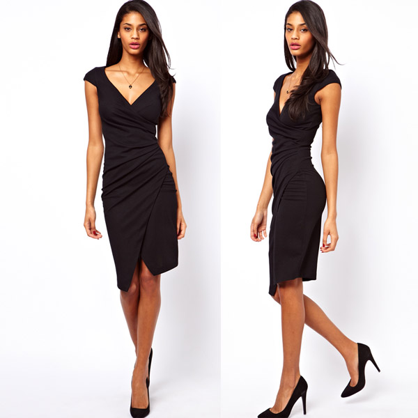 Asymmetrical fold waist deep V design Slim OL black short-sleeved high-elastic pencil skirt haoduoyi shipping