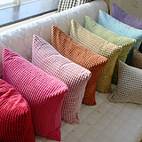 欧式纯色布艺办公室抱枕靠垫