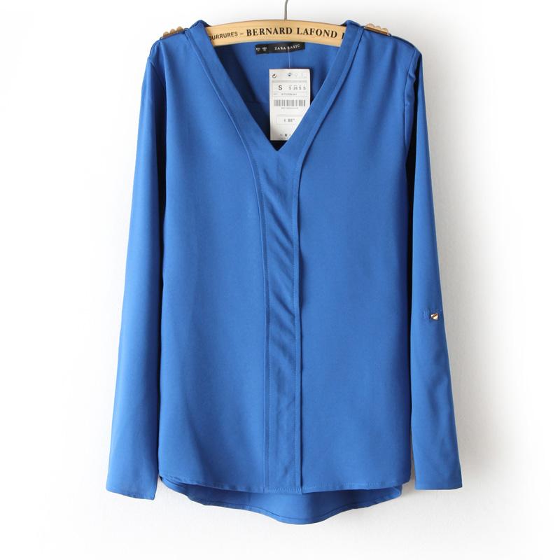 2013春季新款V领挽袖肩章雪纺衬衫铆钉纯色长袖大码衬衣