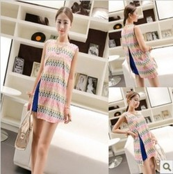 Irregular geometric pattern dress Korean style