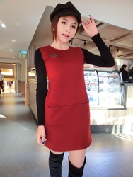 Korean style fashion slim stitching O Neck pullover long sleeve dress