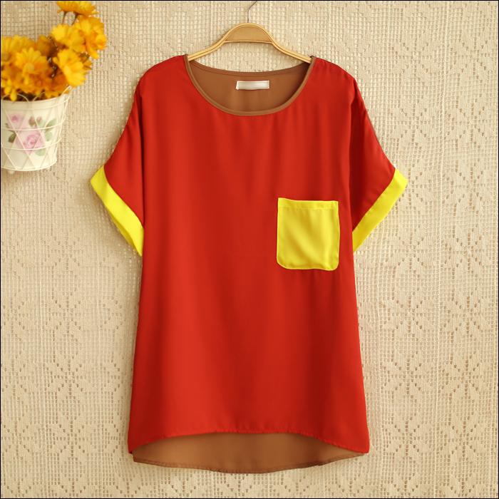 Блузка [Легкие летние любовь] s6838 новый 2013 Корейский свободные контраст цвета шить битой кармана короткий рукав рубашки шифон женщин