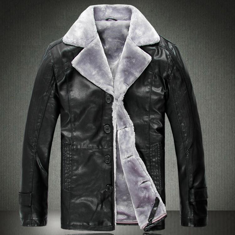 Одежда из кожи Others Одежда из натуральной кожи С мехом Зимняя Отложной воротник