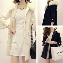 korean style long sleeve loose fur collar wool coat jacket