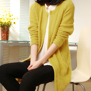 2013 spring new Korean fashion spring loose round neck long sleeve long knit Cardigan Sweater jacket