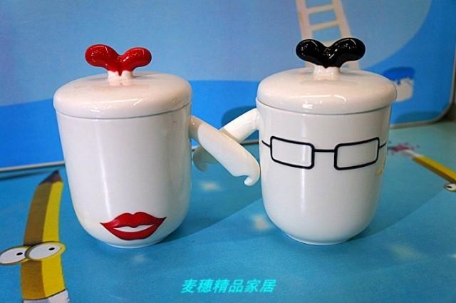 包邮 超可爱情侣杯对杯创意带盖情侣杯子一对结婚陶瓷杯水杯随!