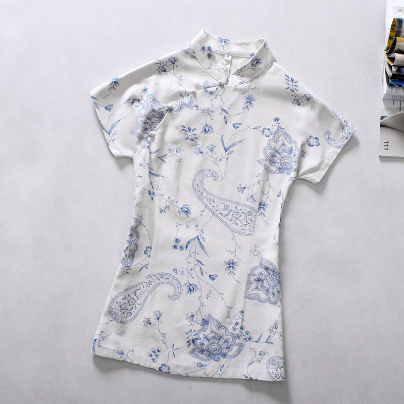 National wind women's summer fashion dress blouse FROG cotton linen even improved Chinese sleeve blouse Blue Lotus