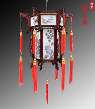Chinese style antique wooden palace lantern Teahouse scenic classical lantern lamp Painting of flowers and design the Mid-Autumn festival droplight package mail