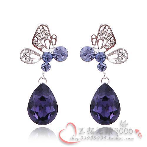 新光饰品正品 紫色水晶小蜜蜂镶钻耳钉 女耳环耳坠 韩版耳饰