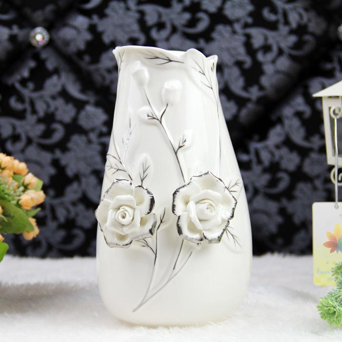 陶瓷工艺品高温白描银花瓶现代简约时尚家居饰品摆件送礼佳品包邮