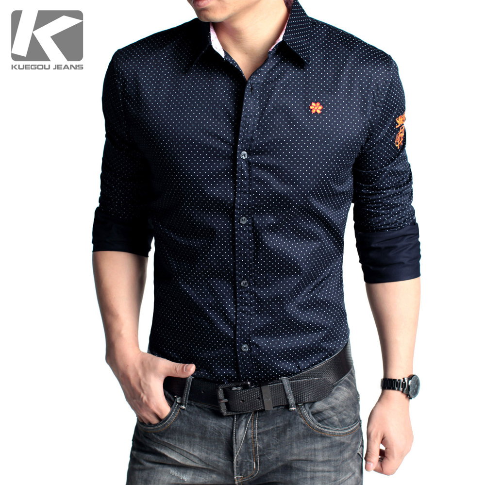 Kuegou Casual Long Sleeve Slim Dot Printing Cotton Mens Shirt
