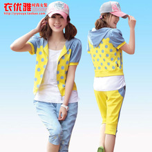 Student dress female summer 2013 new sweet girl junior and senior high cowboy cotton sweater Parure