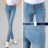 taobao english Free shipping new Slim-breasted jeans female Korean version of the influx feet pants, pencil pants casual eldest daughter Pants Plus Size