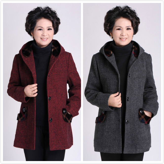 装外套_中老年春秋装女外套妈妈装大衣中年女装薄款羊毛外套中年妇女毛呢