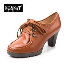 星期六女鞋正品 清仓款牛皮粗高跟深口女鞋单鞋子SS23S29A01图片