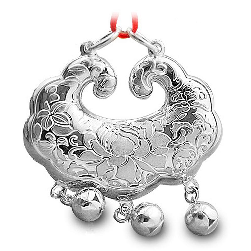 花开富贵999千足银纯银宝宝银锁吊坠婴儿童长命锁宝宝首饰银饰品
