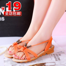 Korean fashion low heel flat shoes 2013 new summer models Boxi Mi beaded Asian open-toed sandals casual shoes