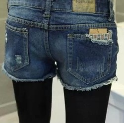 Korean style big size fashion slim jeans denim shorts