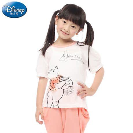 【三枪迪士尼】迪士尼 童装 圆领女童短袖中裤家居服套装 88258D0商品大图