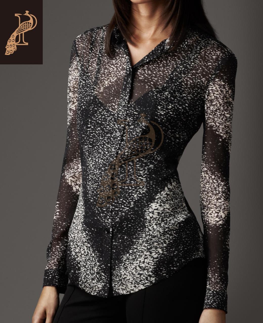 美国代购burberry巴宝莉london女装/长袖衬衫 真丝 印花 38932131