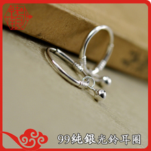 999 sterling silver 1000 fine silver female models male models anti-allergic Korean version of a concise fashion Aperture light bell sterling silver ear rings earrings