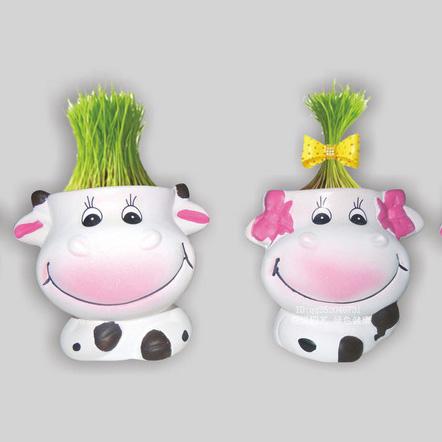 奶牛 diy办公室桌面负离子防辐射 创意草娃娃迷你绿色小植物盆栽