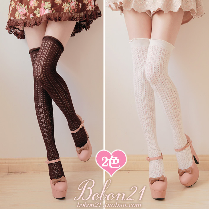 BOBON21 new design pierced fungus lace thin vertical stripes over knee thigh High Socks Hosiery socks AC0791