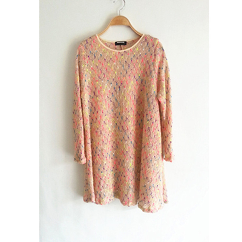 Женское платье Ретро геометрический дизайн цвета мохеровый цвет линии крюк в Южной Корее принимать свободные базовый рубашка длинный свитер платье