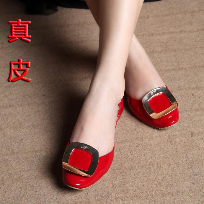 欧美明星新娘婚鞋婚鞋红色大S结婚鞋子新娘鞋rv方扣真皮平跟女鞋平底单鞋