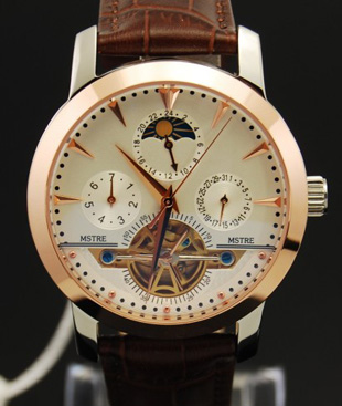 名仕爵9116G 全自动机械表 镂空男表 多功能手表 精钢真皮带手表