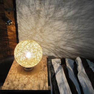 草编藤球麻球创意床头灯