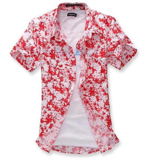 男装上衣拉直筒型时尚休闲短袖花衬衫