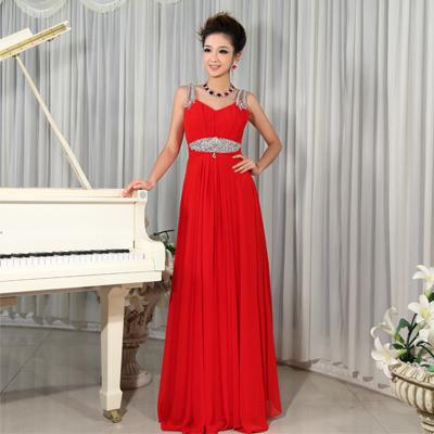 2013新款结婚礼服 新娘礼服长款 红色敬酒服 晚装演出礼服伴娘裙