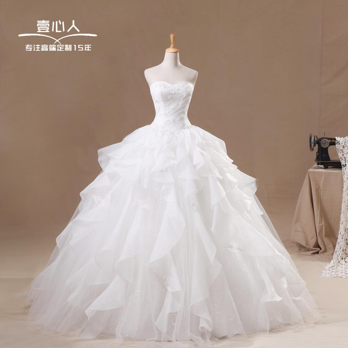 婚纱礼服最新款2013 时尚韩版抹胸公主甜美新娘蓬蓬裙绑带婚纱