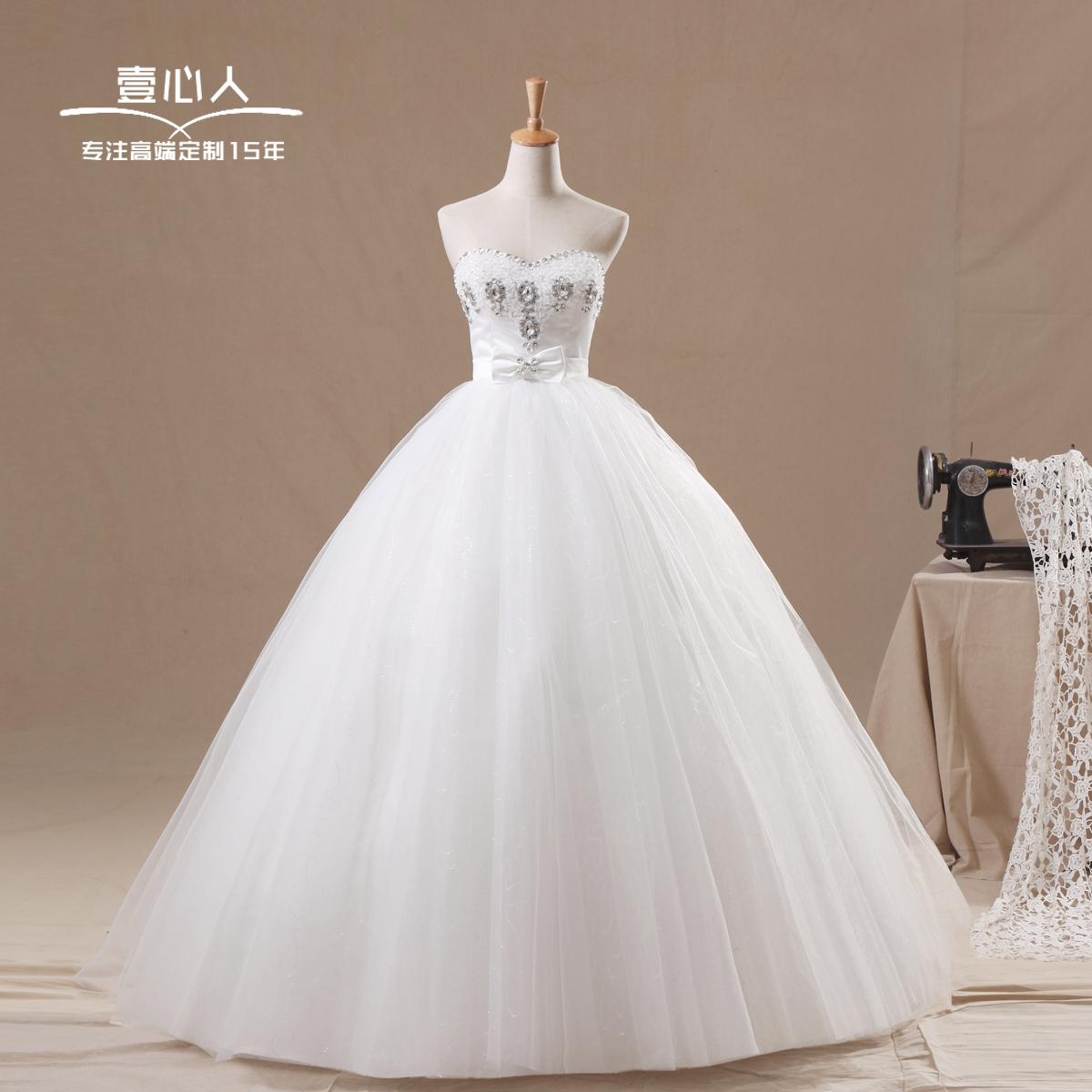 婚纱礼服新款2013 韩版韩式新娘宫廷蝴蝶结齐地婚纱 孕妇可定制