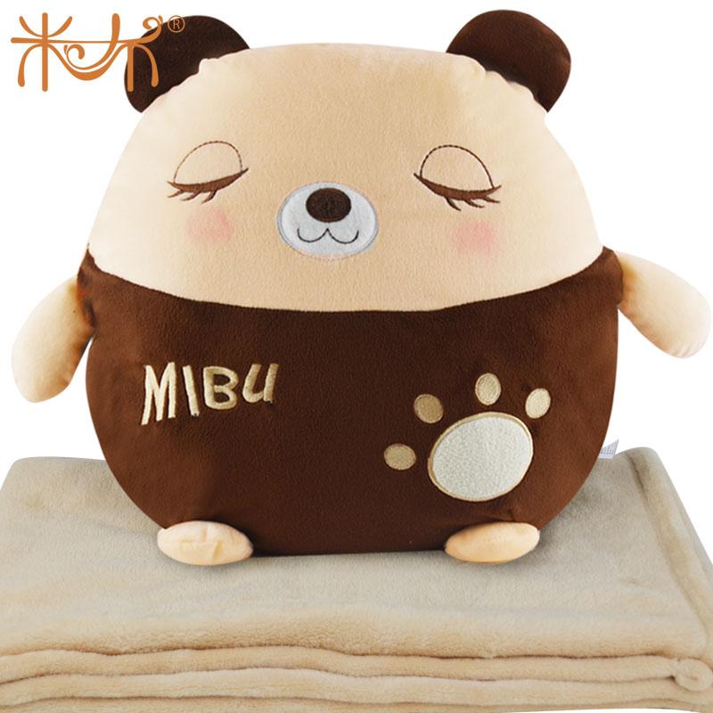 米布瞌睡熊卡通空调毯、抱枕等多款靠垫毛绒玩具可爱娃娃公仔礼物