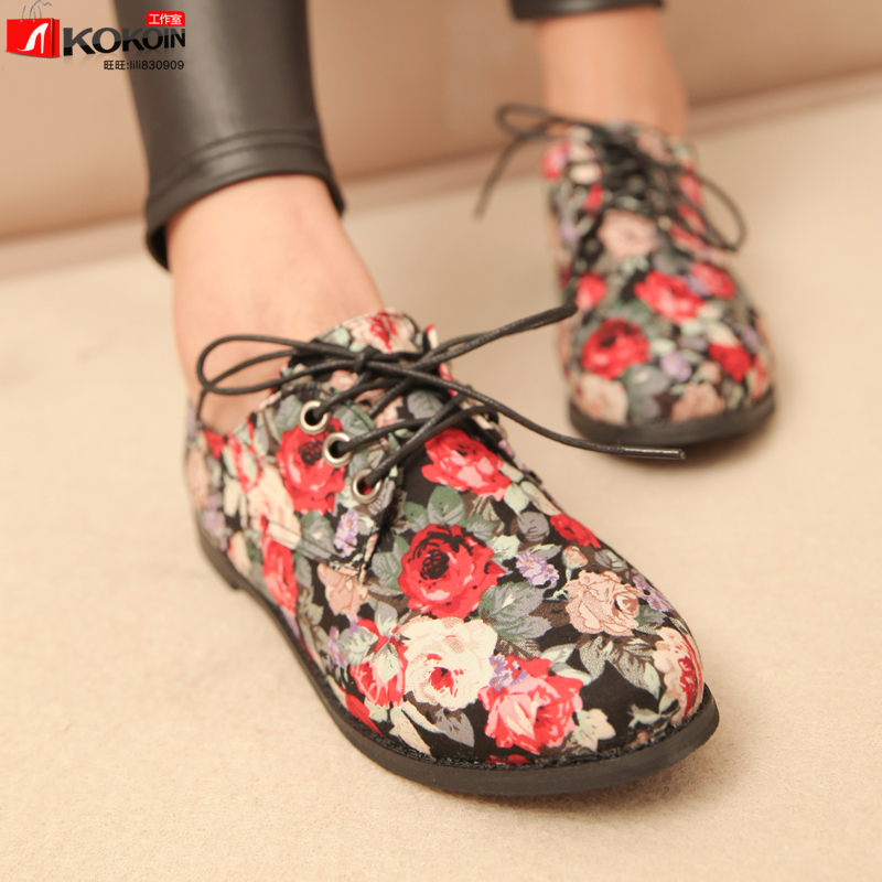 Spring Korean version of the influx of college wind Floral retro shoes flat shoes with flat shoes, casual shoes, canvas shoes