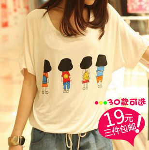 Modal t-shirt woman short sleeves women's summer clothing loose early summer white t-shirt women Korean batwing coat with short sleeves 3 packs-mail