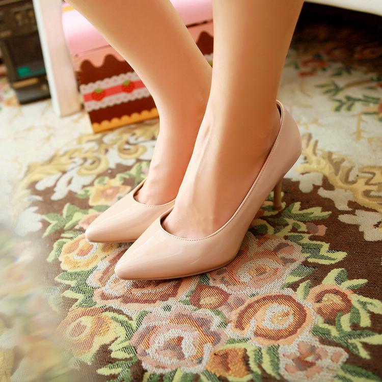 2013秋季新款漆皮高跟细跟尖头简约职业工作鞋上班鞋红色婚鞋包邮
