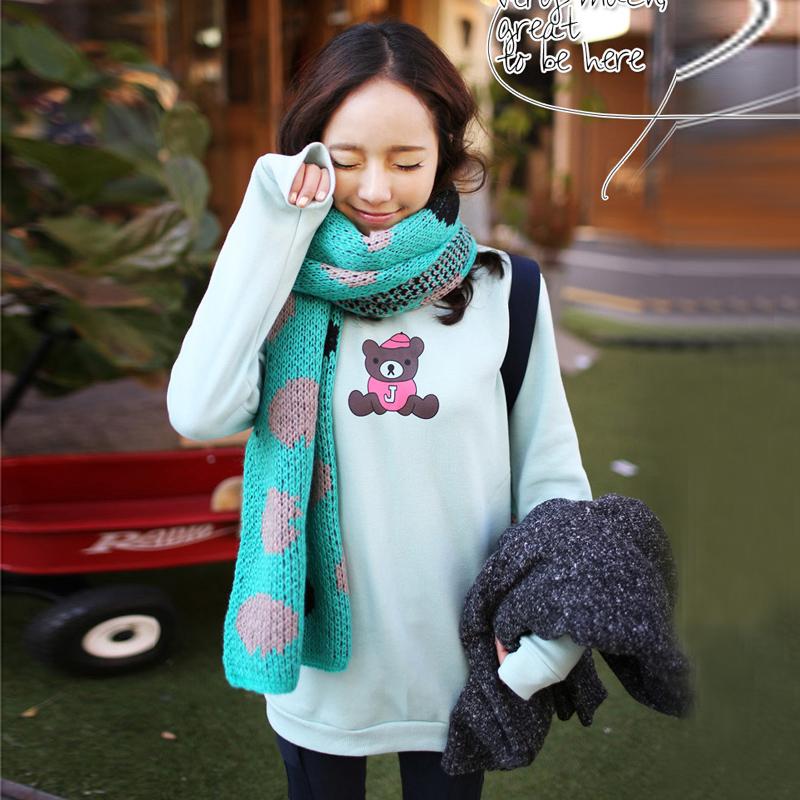 Толстовка женская 2013 Новые корейские медведь мультфильм логотип длинные t женщина отпускать в осенние и зимние осень свитер пальто женщин