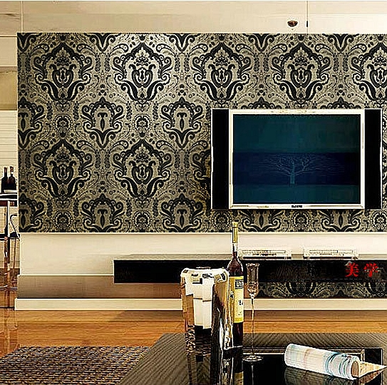 无纺布北欧大马士革撒金发泡壁纸 卧室客厅电视背景墙纸特价图片