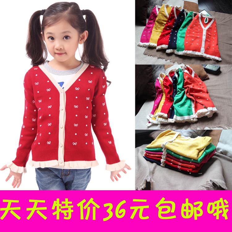 Свитер детский «Ежедневные специальные» Детская печати хлопка вязаный кардиган в корейских девочек лук свитер с длинным рукавом дна рубашки