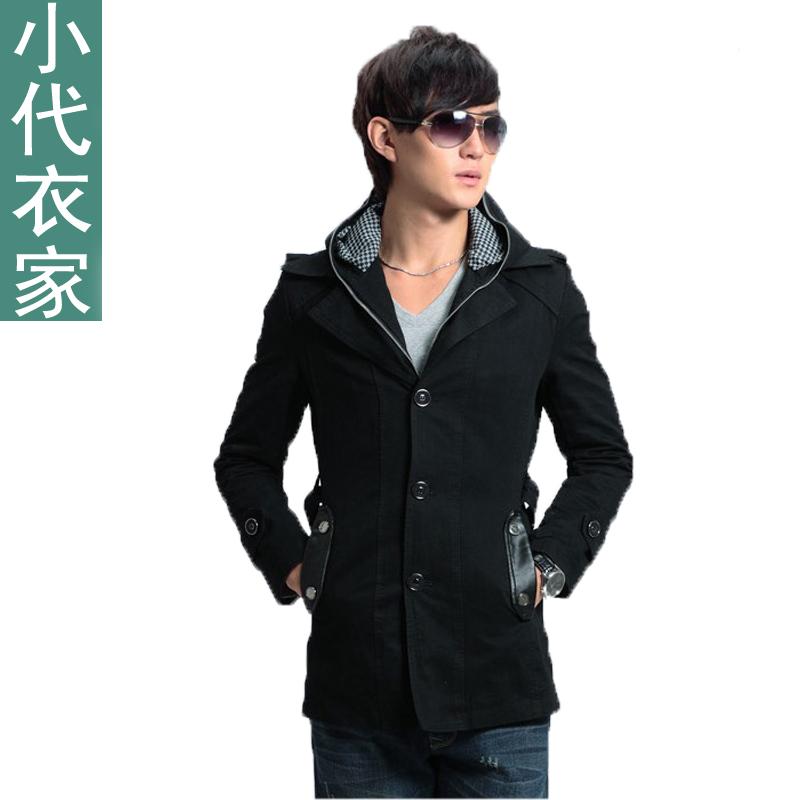 男士韩版秋冬装以纯美邦森马风男装外套修身时尚大衣开衫带帽风衣图片